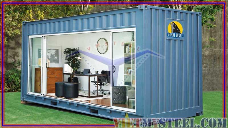 Mẫu thiết kế container văn phòng đẹp với màu xanh trang nhã